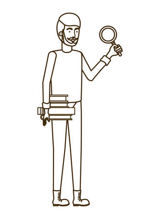 man with magnifying glass in white background vector illustration design Illustration