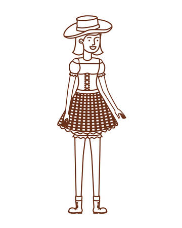 farmer woman with straw hat vector illustration design