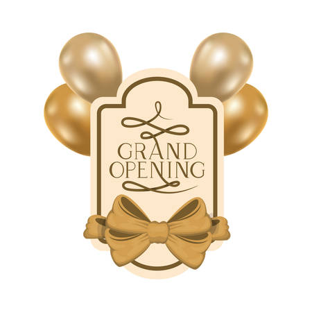 frame and helium balloons with label grand opening vector illustration design