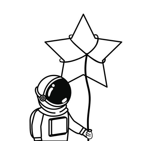 astronaut with spacesuit and star in white background vector illustration design