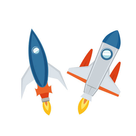 rockets taking off in white background vector illustration design