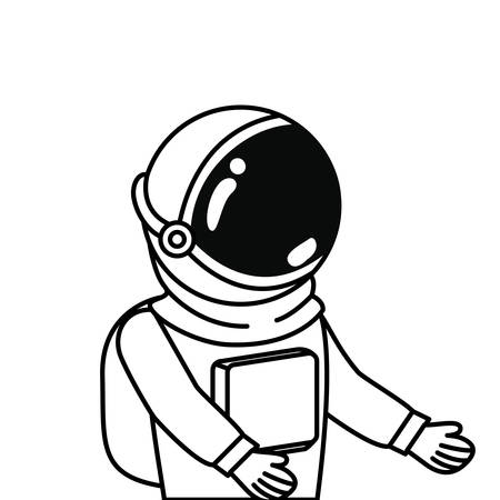 astronaut with spacesuit in white background vector illustration design