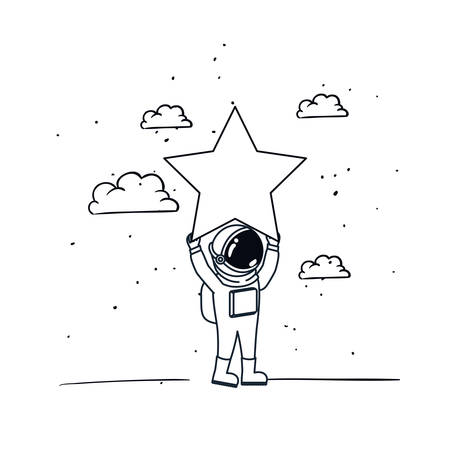 astronaut with spacesuit and star in white background vector illustration design Illustration