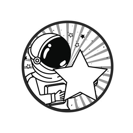 frame with astronaut and star in white background vector illustration design