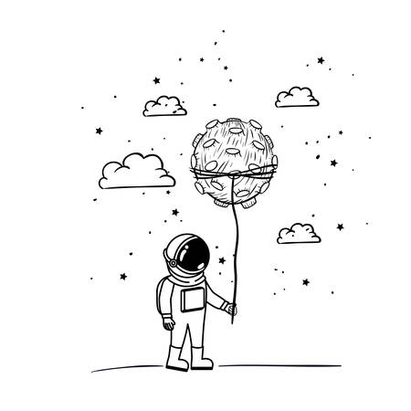 astronaut with spacesuit and planet in white background vector illustration design Vector Illustration