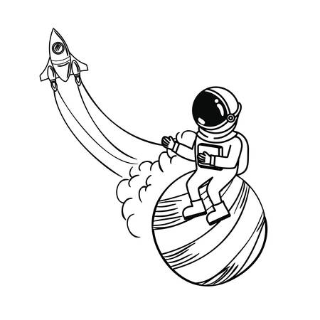 silhouette of astronaut with spacesuit in the space vector illustration design
