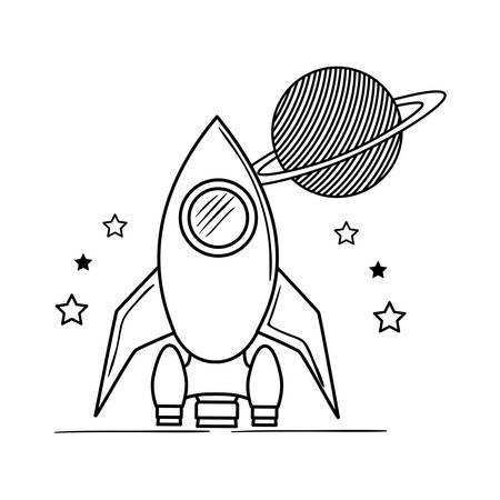rocket flying with planet of the solar system vector illustration design