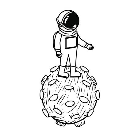 astronaut with spacesuit and planet in white background vector illustration design