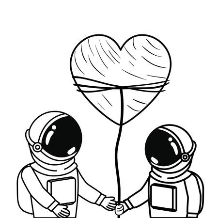 astronauts with spacesuit and heart in white background vector illustration design Stock Illustratie