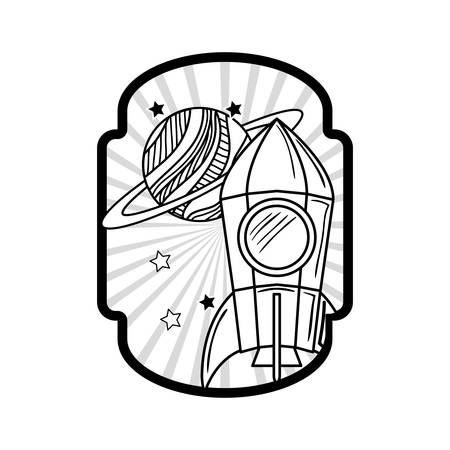 frame with rocket taking off and planets vector illustration design