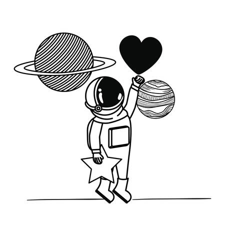 astronaut with spacesuit and heart in white background vector illustration design