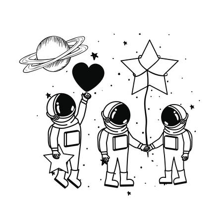 silhouette of astronauts with space suit in space vector illustration design