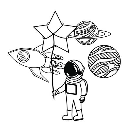 astronaut with spacesuit and star in white background vector illustration design Stock Illustratie