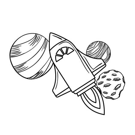 rocket flying with planets of the solar system vector illustration design