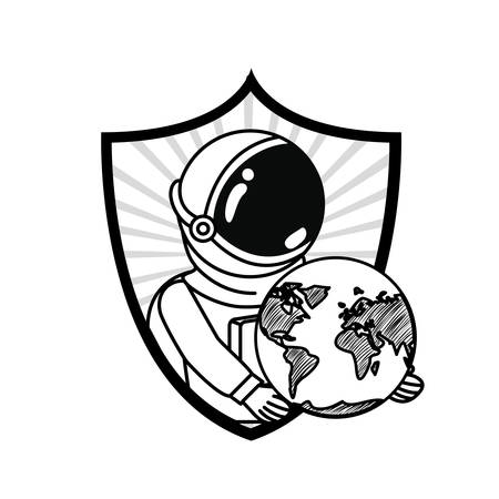 frame with astronaut and planet in white background vector illustration design