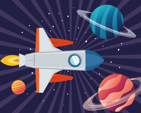 rocket in the space with planets of the solar system vector illustration design