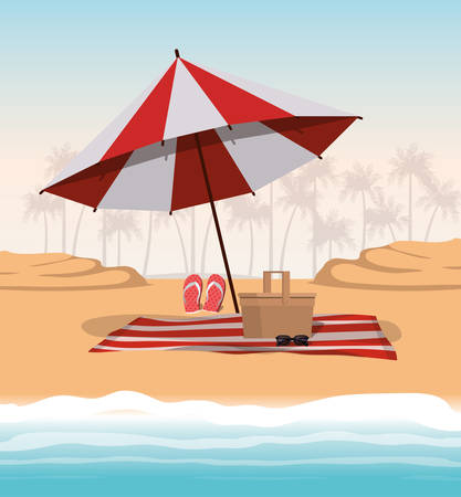 Summer and vacation umbrella design, Beach tropical relaxation outdoor nature tourism island and season theme Vector illustration Illustration
