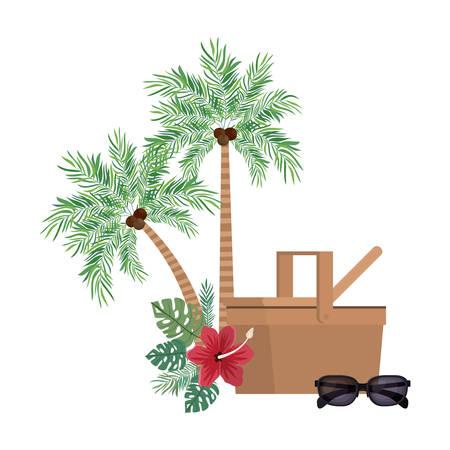 straw picnic basket on white background vector illustration design Vektorgrafik