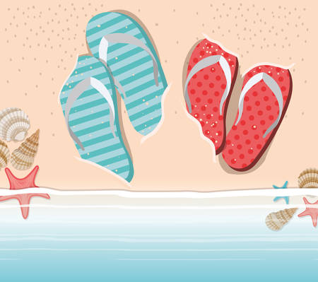Flip flops in the beach design, Summer sandals shoes footwear fashion and vacation theme Vector illustration