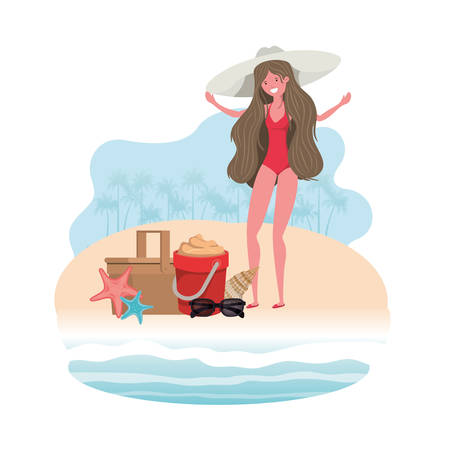 woman on the shore of the beach with sand bucket vector illustration design