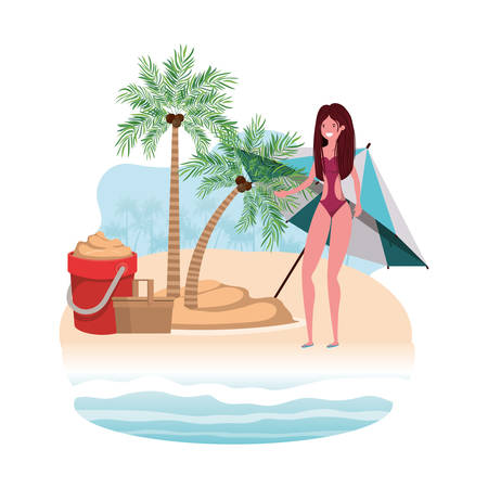 woman on island with swimsuit and sand bucket vector illustration design