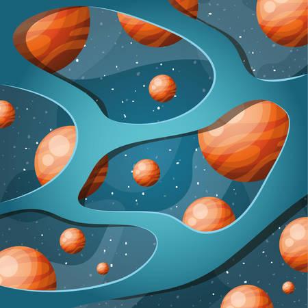 Planet Design, Sonnensystem Weltraum Orbit Galaxie Universum und Wissenschaft Thema Vector Illustration Vektorgrafik