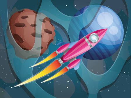 rocket flying with planets of the solar system background vector illustration design