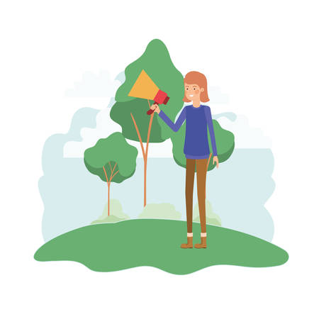woman with megaphone in the hand in landscape vector illustration design