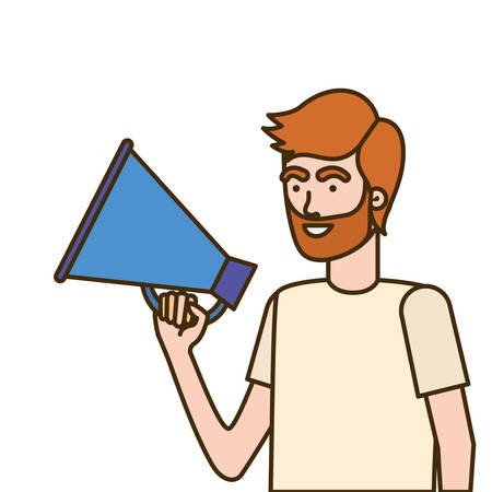 young man with megaphone in the hand vector illustration design Stock Vector - 124457878