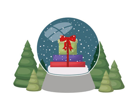 gift boxes in crystal ball isolated icon vector illustration design