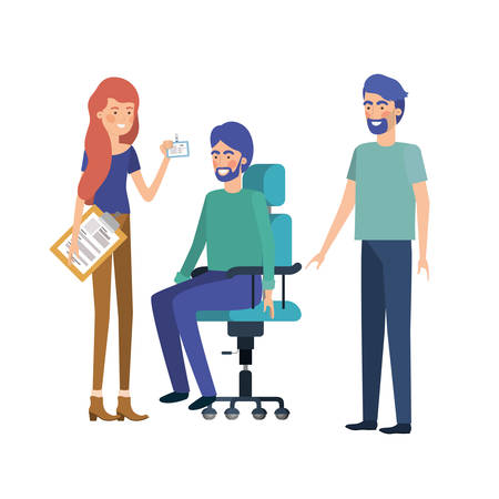 group of people with sitting in office chair vector illustration design Illustration