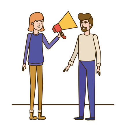 young couple in with megaphone in the hand vector illustration design