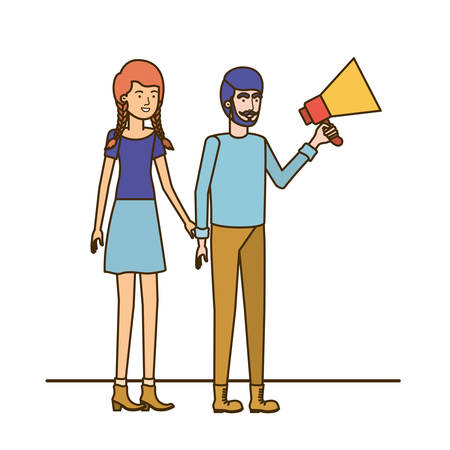 young couple in with megaphone in the hand vector illustration design Stock Vector - 124510210