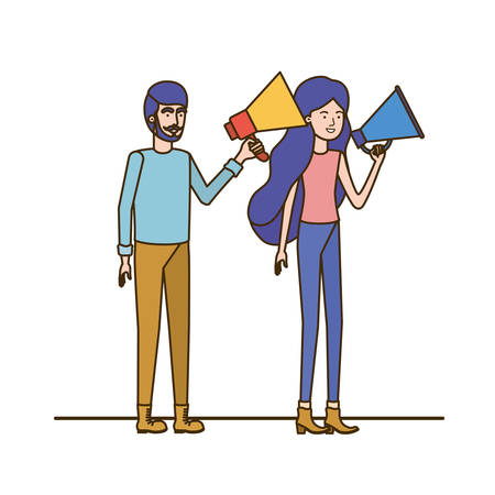 young couple in with megaphone in the hand vector illustration design Stock Vector - 124510247