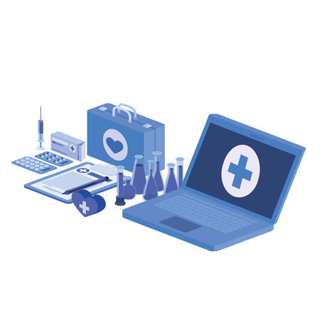 laptop and laboratory instruments isolated icon vector illustration design Illustration