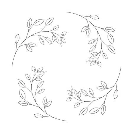 garland with flowers and leafs isolated icon Stock Vector - 124534569