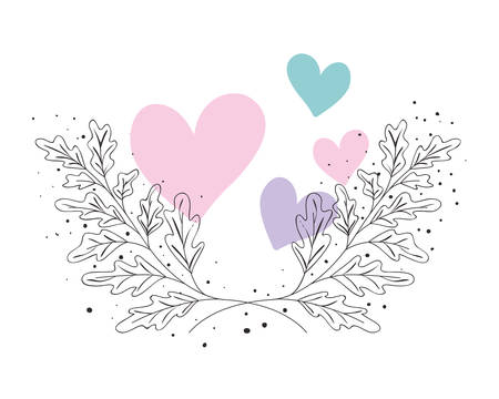 garland with flowers and leafs isolated icon Stock Vector - 124536568