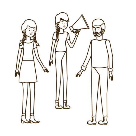 group of people in with megaphone in the hand vector illustration design
