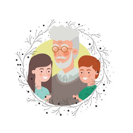 grandfather with children and wreath avatar character vector illustration design