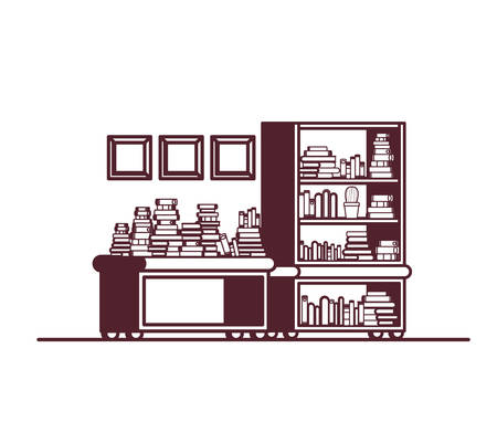 shelving with books in white background vector illustration design