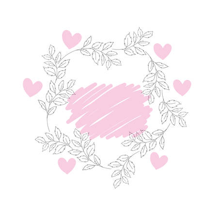 garland with flowers and heart isolated icon vector illustration desing
