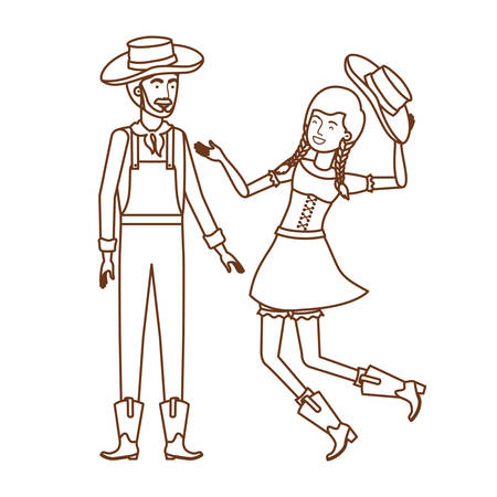 farmers couple dancing with straw hat vector illustration design Ilustração
