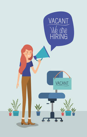 woman using megaphone with we are hiring message vector illustration design