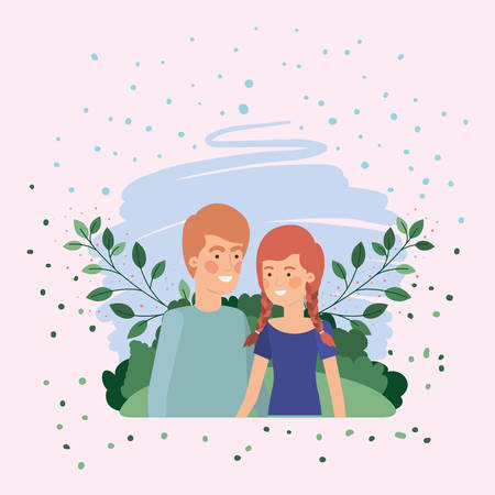 young couple lovers in the field vector illustration design Stock Vector - 124634887