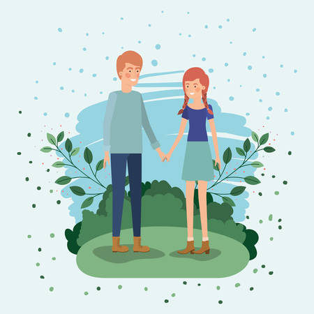 young couple lovers in the field vector illustration design