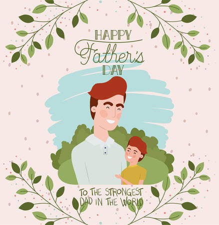 happy fathers day card with dad and son characters vector illustration design 向量圖像