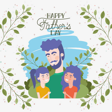 happy fathers day card with dad and daughters characters vector illustration design