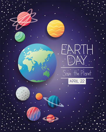 group of planets earth day celebration vector illustration design Иллюстрация