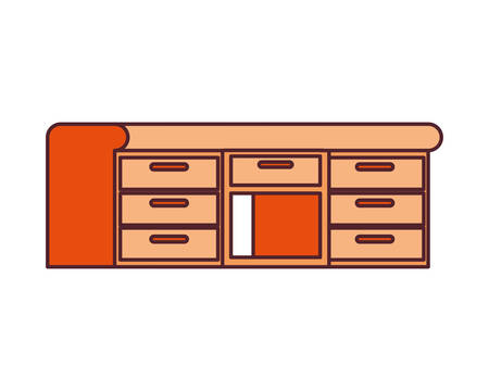 office desk in wooden with white background vector illustration design Ilustrace