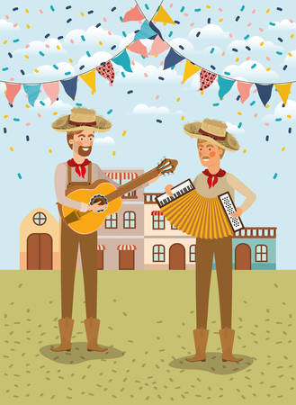 young farmers celebrating with garlands and cityscape vector illustration design Banque d'images - 124724935